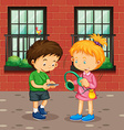 Boy and girl with devices vector image
