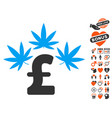 Cannabis pound business icon with valentine bonus vector image