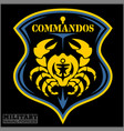 crab - military patch - marine theme vector image