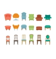 Furniture for Sitting Chairs Armchairs Stools vector image