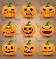 Halloween icon set of Pumpkins vector image