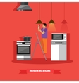 Man changing lamp bulb in kitchen vector image