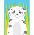 Dalmatian in the grass on blue background vector image