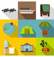 Refugees icons set flat style vector image