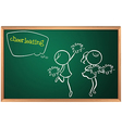 A blackboard with a drawing of two cheerdancers vector image vector image