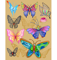 Tattoo butterfly jewellery set print cloth vector image vector image