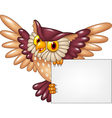 Cartoon owl bird flying holding blank sign vector image vector image