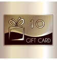 abstract gift card for ten in gold and vector image