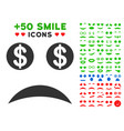 bankrupt smile icon with bonus smile set vector image