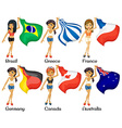 Girls and flags vector image