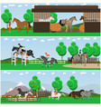 set of horse riding posters banners in vector image