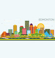 edmonton skyline with color buildings and blue sky vector image