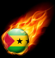 Round glossy icon of sao tome and principe vector image