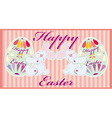 Two easter funny rabbits with egss vector image vector image