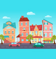 cartoon cute street of a colorful city with vector image