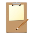 Clipboard with green read paper and pensil vector image
