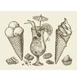 Food dessert drink Hand drawn vintage ice cream vector image
