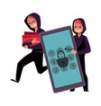 hacker cracking smartphone breaking pin code vector image