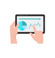 hands with tablet pc flat cartoon vector image