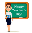 happy teachers day cute teacher with pointer and vector image