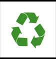 icon green sign of recycling isolated on white vector image