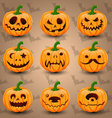 Set of face Halloween Pumpkins vector image