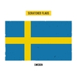 Swedish grunge flag with little scratches on vector image
