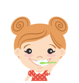 happy cute girl cleaning her teeth with toothpaste vector image