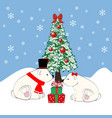 polar bears and christmas tree vector image