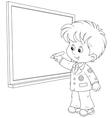 Schoolboy writes on the blackboard vector image vector image