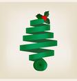 Festive green Christmas tree of coiled ribbon vector image vector image
