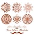 Set of Henna Color Mandala over white vector image