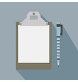 blank clipboard icon and a pen with long shadow vector image