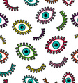 Colorful stitch patch eye icons seamless pattern vector image