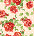 Fancy roses dotty cream background vector image