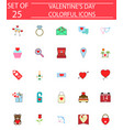 happy valentines day solid icon set vector image