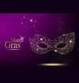 mardi gras golden polygonal carnival mask vector image