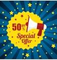 megaphone stamp special offer discount star blue vector image