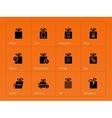 Presents box icons on orange background vector image
