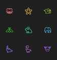 set of 9 editable zoology outline icons includes vector image