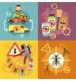 Home pest control service flat concepts set vector image