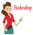 woman barber with scissors shear beautiful vector image