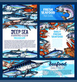 fish and seafood fishing club banner template set vector image vector image