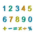 numbers and maths symbols isolated vector image