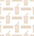 sub sandwich cola cold drink paper cup outline vector image