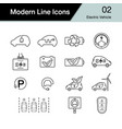 electric car icon set 2 hybrid vehicle symbol vector image