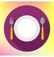 Flat Dinner Plate spoon Fork vector image