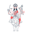 icon of goddess durga two colors vector image