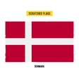 Danish grunge flag with little scratches on vector image