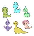 cawaii dinosaurs set cartoon characters vector image